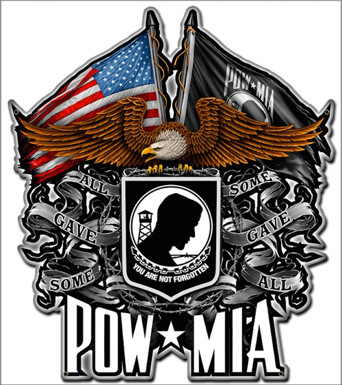 """POW-MIA & EAGLE "" METAL SIGN"