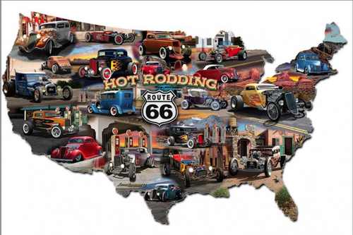 """""""HOT ROD ROUTE 66"""" METAL MAP"""