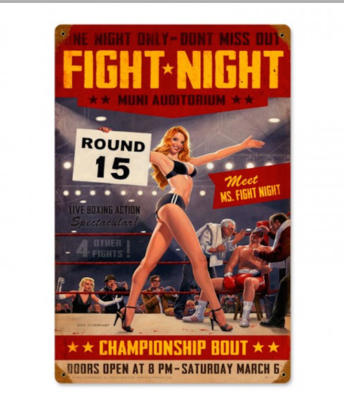 """FIGHT  NIGHT""  METAL  SIGN"