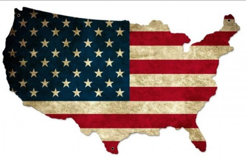 """UNITED  STATES  FLAG  MAP""  METAL  SIGN"
