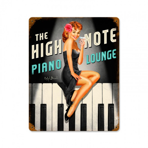 """HIGH  NOTE  PIANO  LOUNGE""  METAL  SIGN"