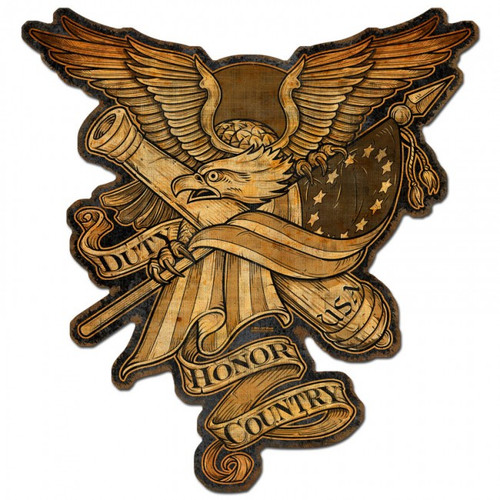 """""""DUTY,  HONOR,  COUNTRY""""  METAL  SIGN"""