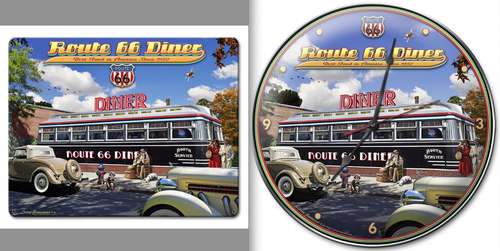 """""""1936  DINER  ON  ROUTE  66 """" ROUND  CLOCK"""