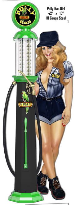 """Pin-Up Polly Girl""  Gas Pump Reproduction Metal Sign-- 15x42"