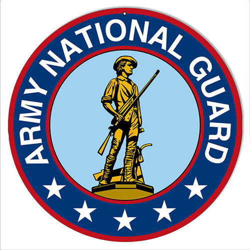 """""""ARMY NATIONAL GUARD"""" MILITARY  ROUND METAL SIGN"""