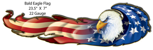 """BALD EAGLE &  FLAG""  METAL  SIGN"
