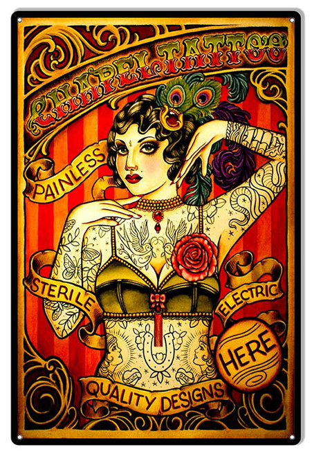 """NOSTALGIC   TATTOO  PARLOR "" METAL SIGN"