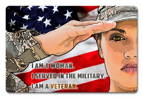 """FEMALE  ARMY  VETERAN""  METAL  SIGN"