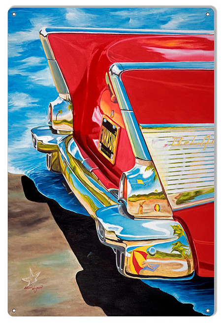"""REAR END CHEVY BEL AIR""   METAL SIGN"