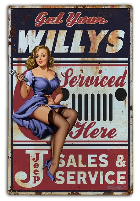 """""""GET  YOUR  WILLYS  SERVICED  HERE""""  METAL SIGN"""