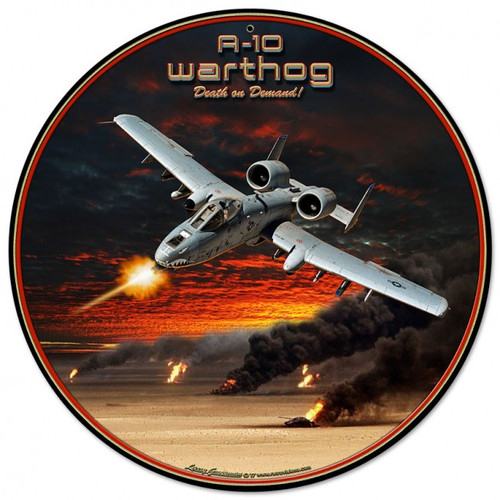 """A-10 Warthog""  ROUND METAL SIGN"