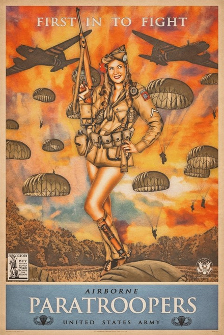 """AIRBORNE PARATROOPERS""  PIN-UP  METAL  SIGN"
