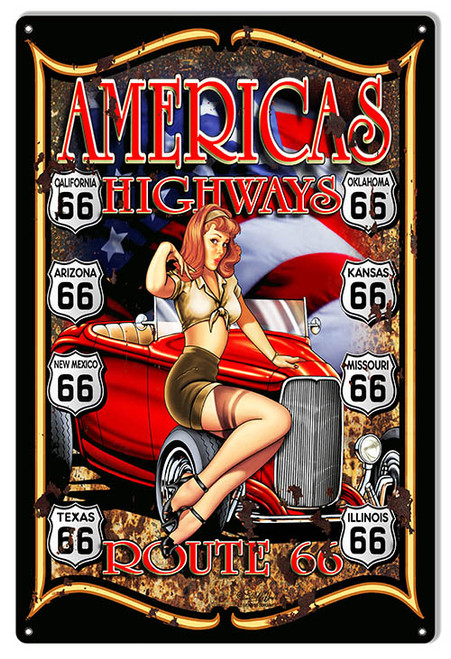 """ROUTE  66 --AMERICA'S  HIGHWAY""  METAL SIGN"