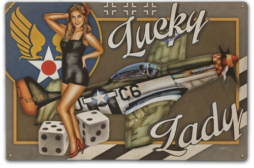 """LUCKY  LADY""  METAL  SIGN"