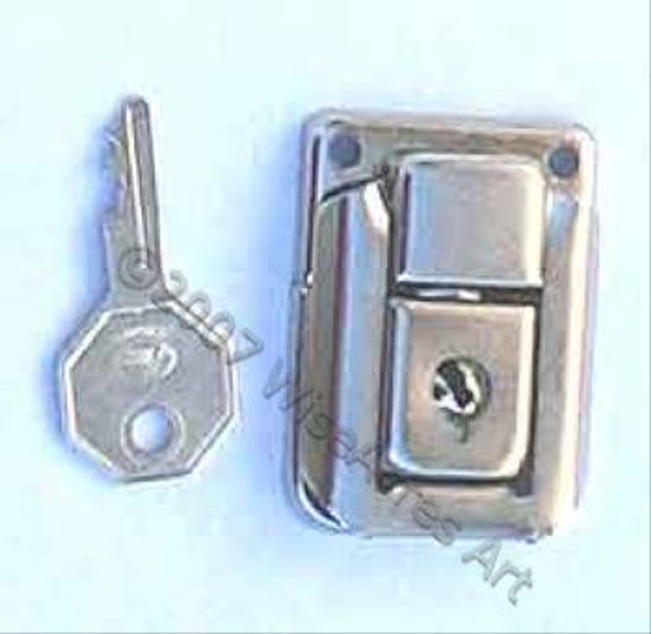 Box Lid Latch W/Keyed Lock Nickel Exposed Hole