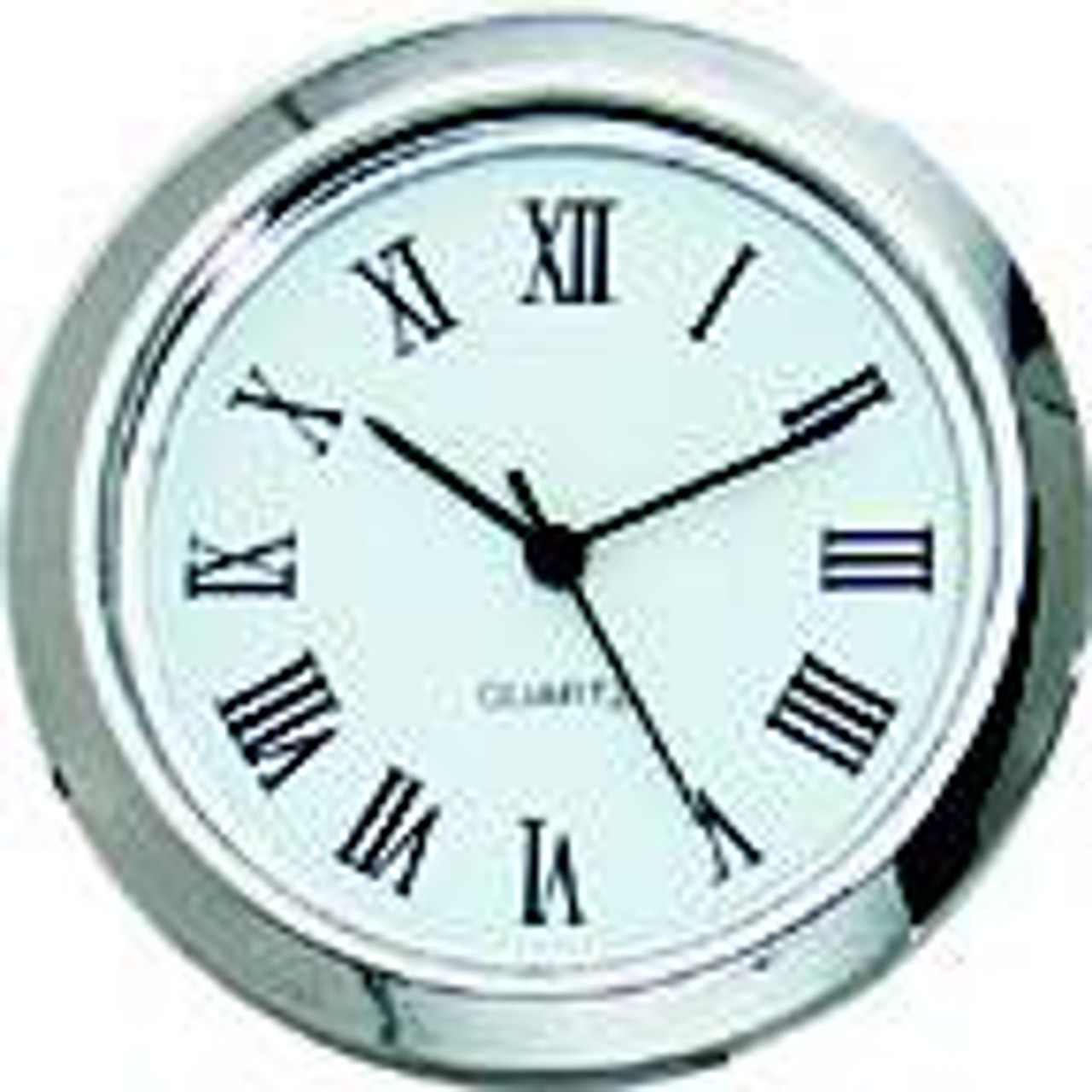Chrome Bezel 1-7/16 (36mm) White Face Roman Clock Fit-Up