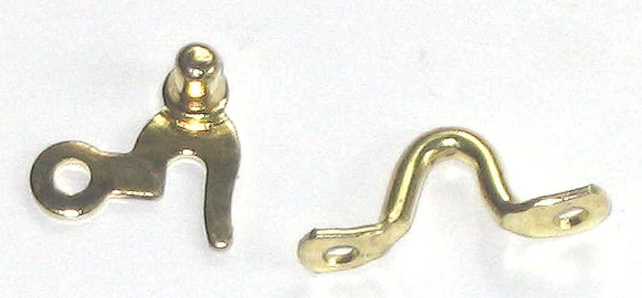 Brass Plated Box Hook w/knob & Staple