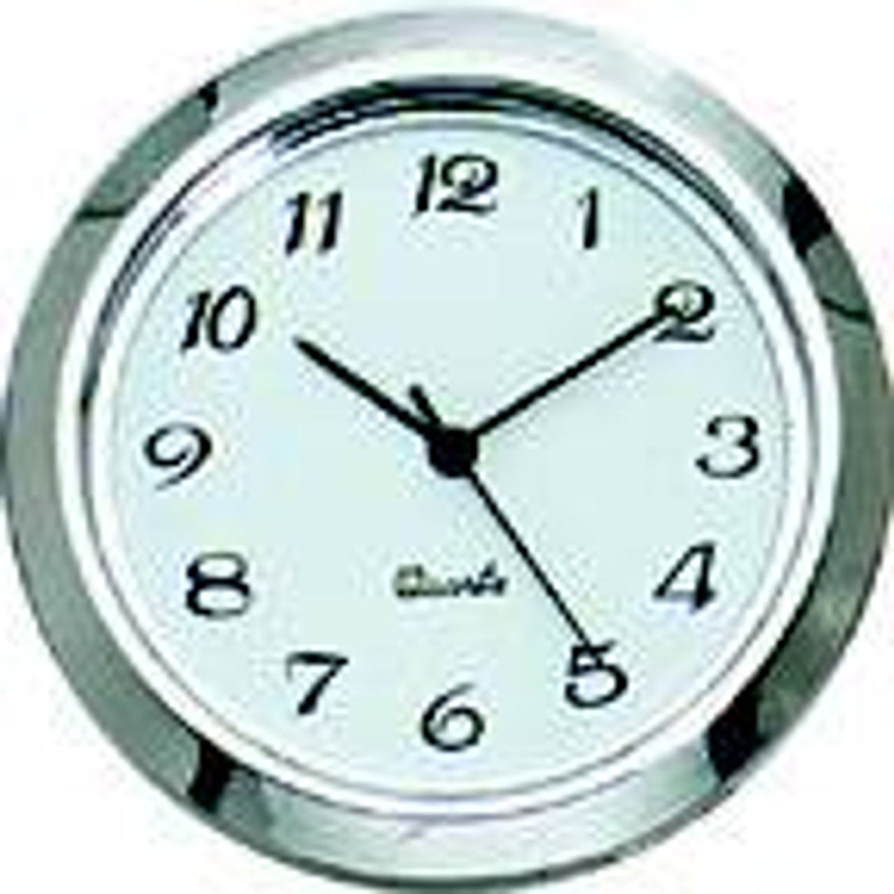 1-7/16 (36mm) Chrome Bezel White Face Arabic Clock Insert/Fit Up