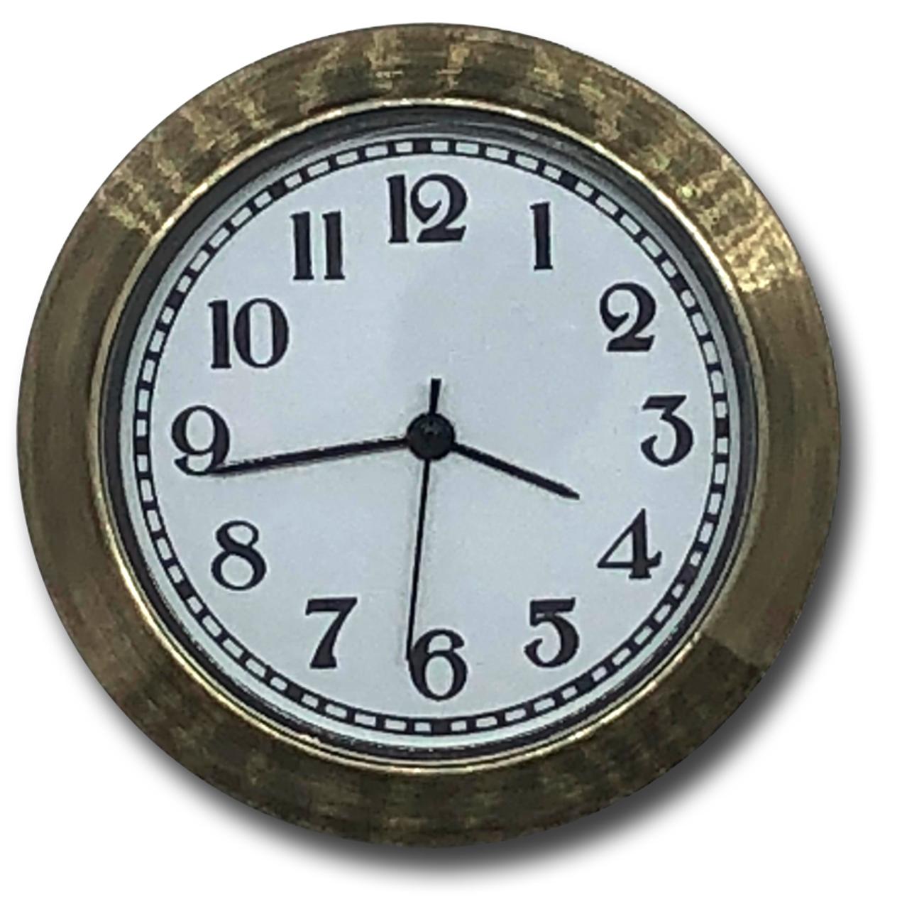 1-7/16 (36mm) Antique Brass Bezel White Face Glass Lens Clock Insert/Fit Up