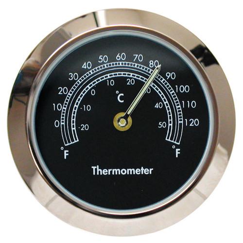 "Black 1 7/16"" (36mm) ""Shower Proof"" Miniature Quartz Clock Thermometers"