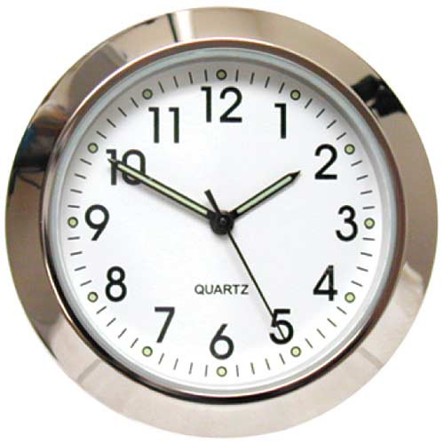 "White 1 7/16"" (36mm) ""Shower Proof"" Miniature Quartz Clock Fit-ups"