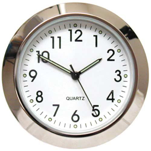 "White 1 7/16"" (36mm) ""Shower Proof"" Miniature Quartz Clock Fit-ups"