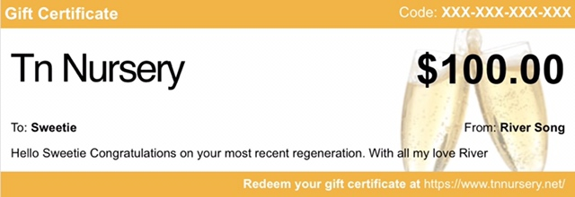 Tennessee Wholesale Nursery example 'Celebration' gift certificate