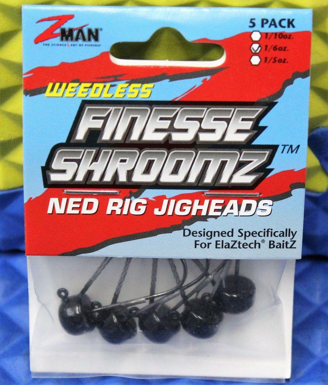 Select Size Z Man Weedless Pro ShroomZ Green Pumpkin Ned Rig Jigheads 4 PK