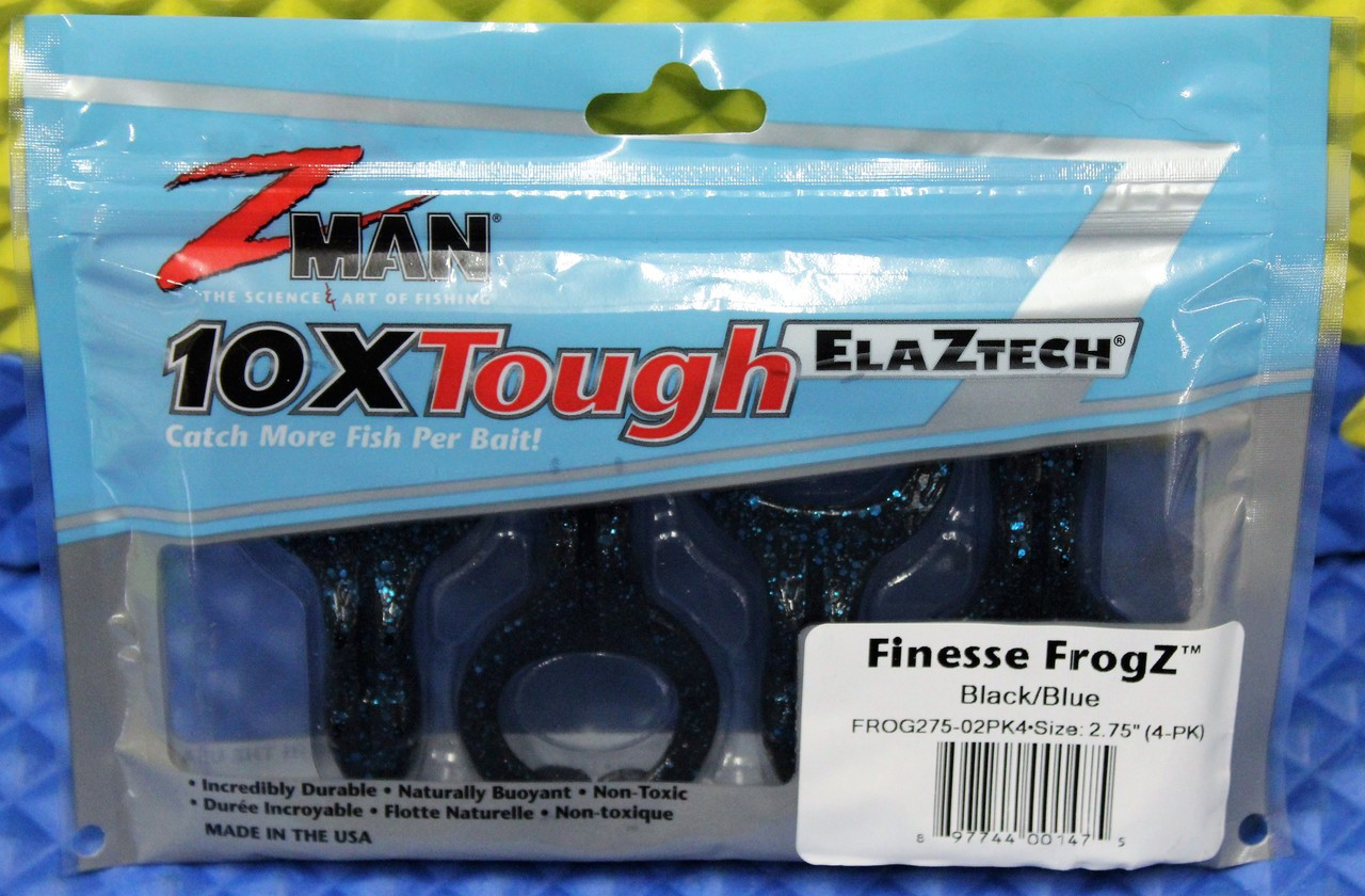 "Z-MAN 10XTough ELAZTECH Finesse FrogZ Size 2.75"" FROG275-PK4 Series 4-PK CHOOSE YOUR COLOR!"