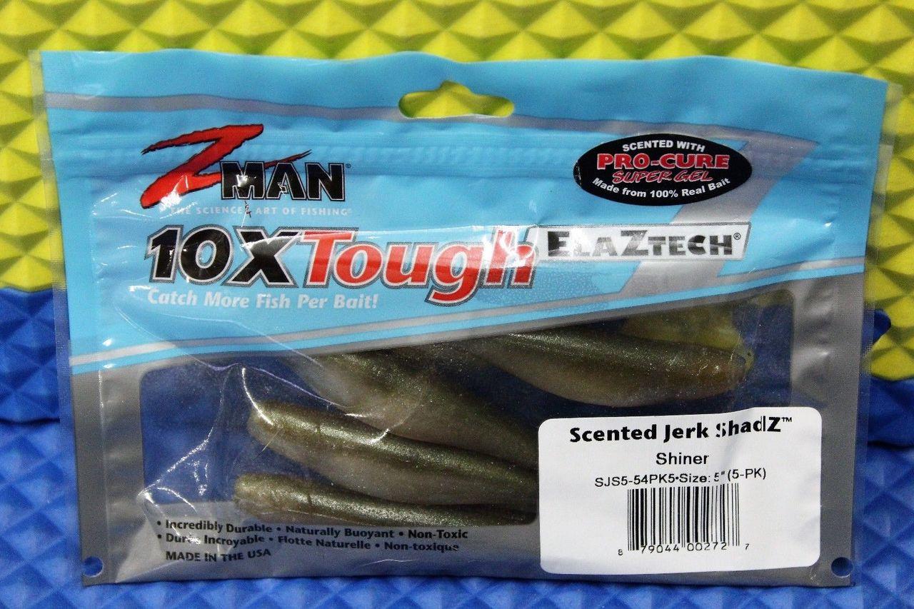 """Z-Man 10X Tough ElaZtech 5/"""" Scented Jerk ShadZ 5-Pack CHOOSE YOUR COLOR"""