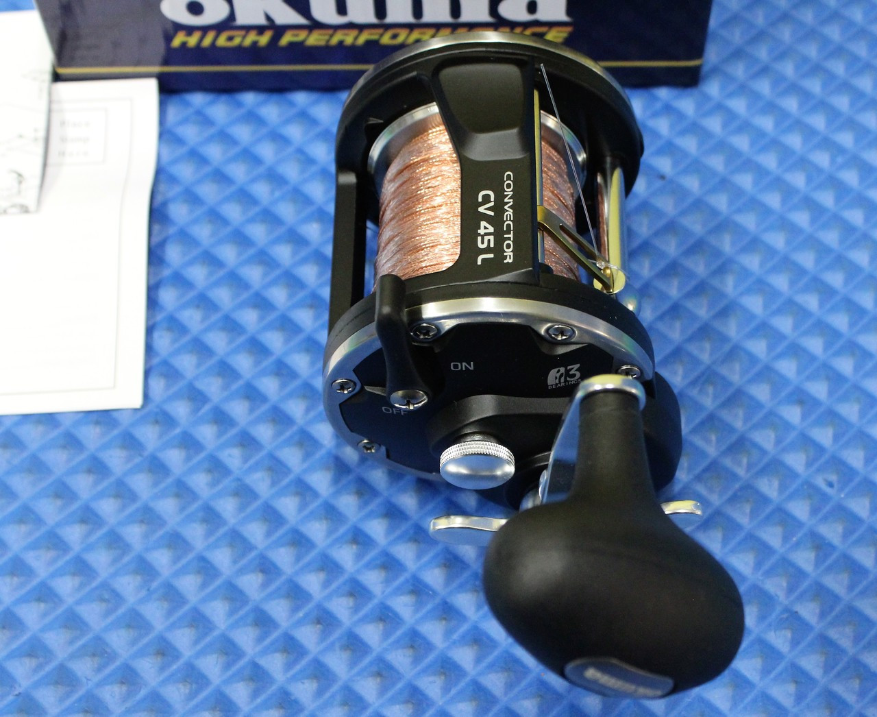 Okuma Convector Levelwind Reel CV 45L Prespooled With 30# Copper, 20# Solar Green Backing, 50 Feet 20# Leader CHOOSE YOUR COPPER LENGTH