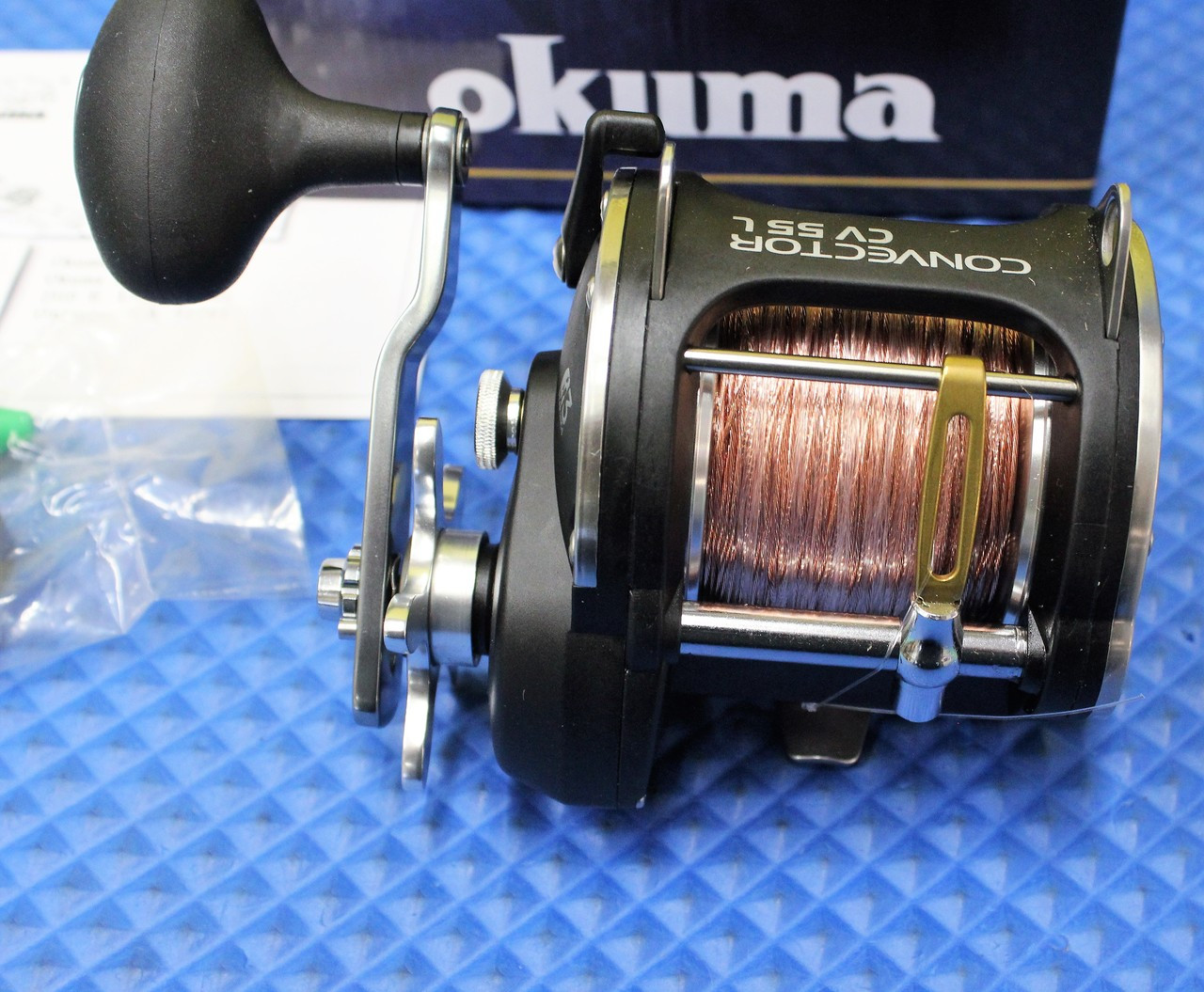 Okuma Convector Levelwind Reel CV 55L Prespooled With 45# Copper, 25# Solar Green Backing, 50 Feet 20# Leader CHOOSE YOUR COPPER LENGTH