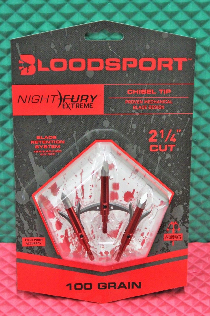 "Bloodsport Nite Fury Extreme Broadhead 100 Grain 2-1/4"" Cut 3 Pack 10818"