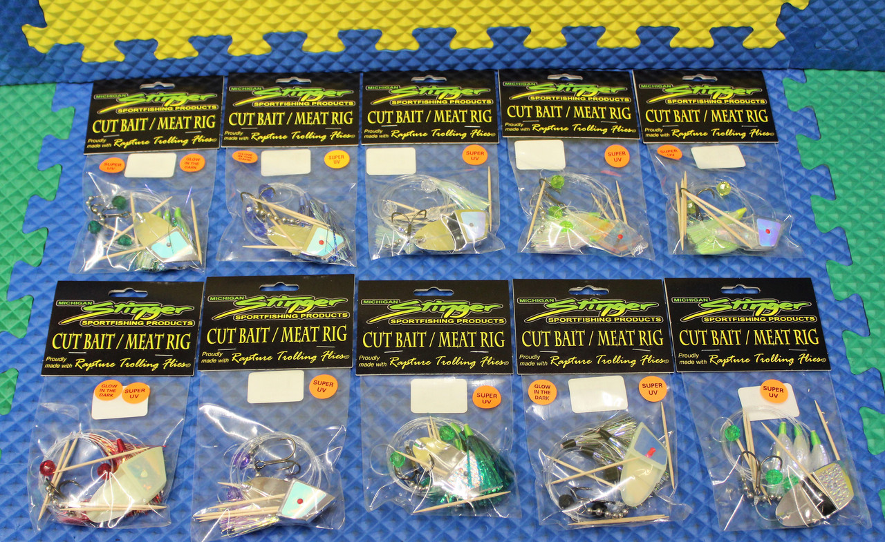 Michigan Stinger Cut Bait/Meat Rig With Rapture Trolling Flies CHOOSE YOUR COLOR!