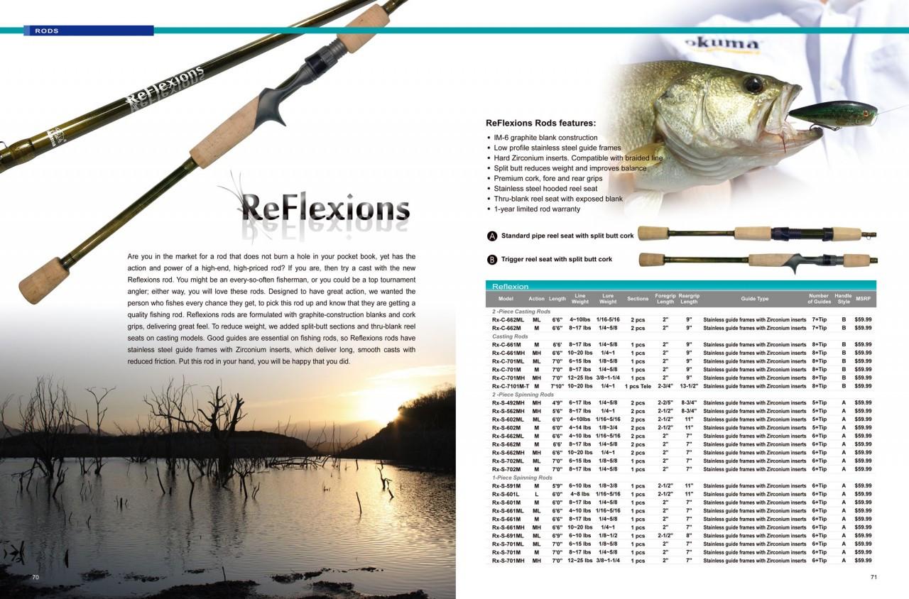 Okuma Reflexions Casting Rod w//Split Rear Grip 7/' Med//Hvy Action Rx-C-701MHa