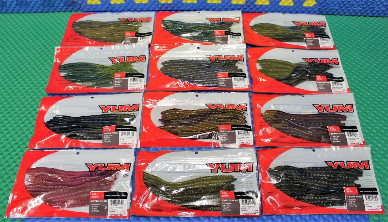 """Yum 6 Finesse Worm 6-1/2"""" 12 Pack YFSW6 Series CHOOSE YOUR COLOR!"""