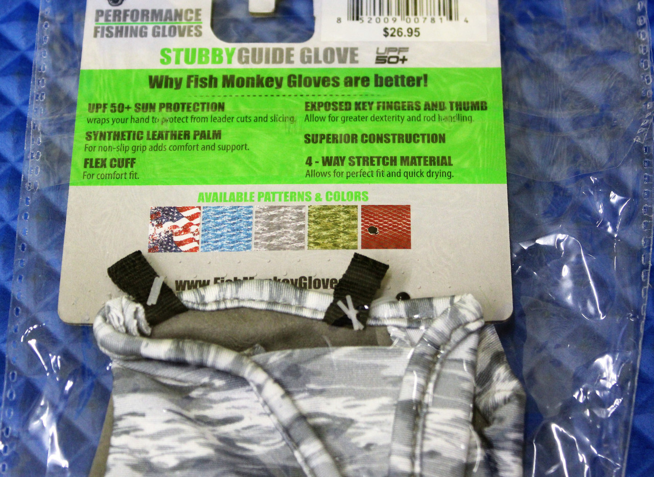 Fish Monkey Stubby Guide Glove FM18-GREYWTRCAM- CHOOSE YOUR SIZE!