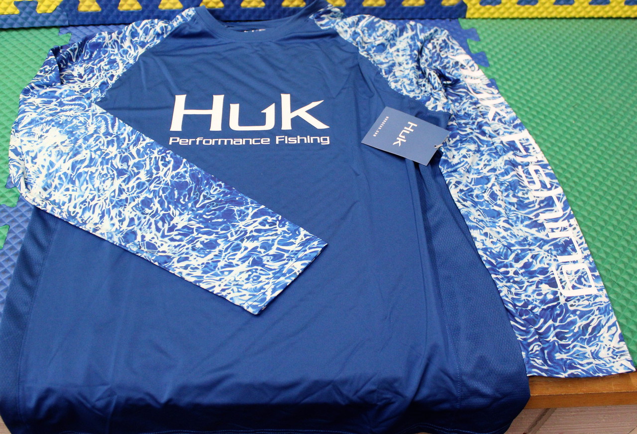 HUK VC Turtle Grass Double Header LS Shirt H1200347-457 Huk Blue CHOOSE YOUR SIZE!