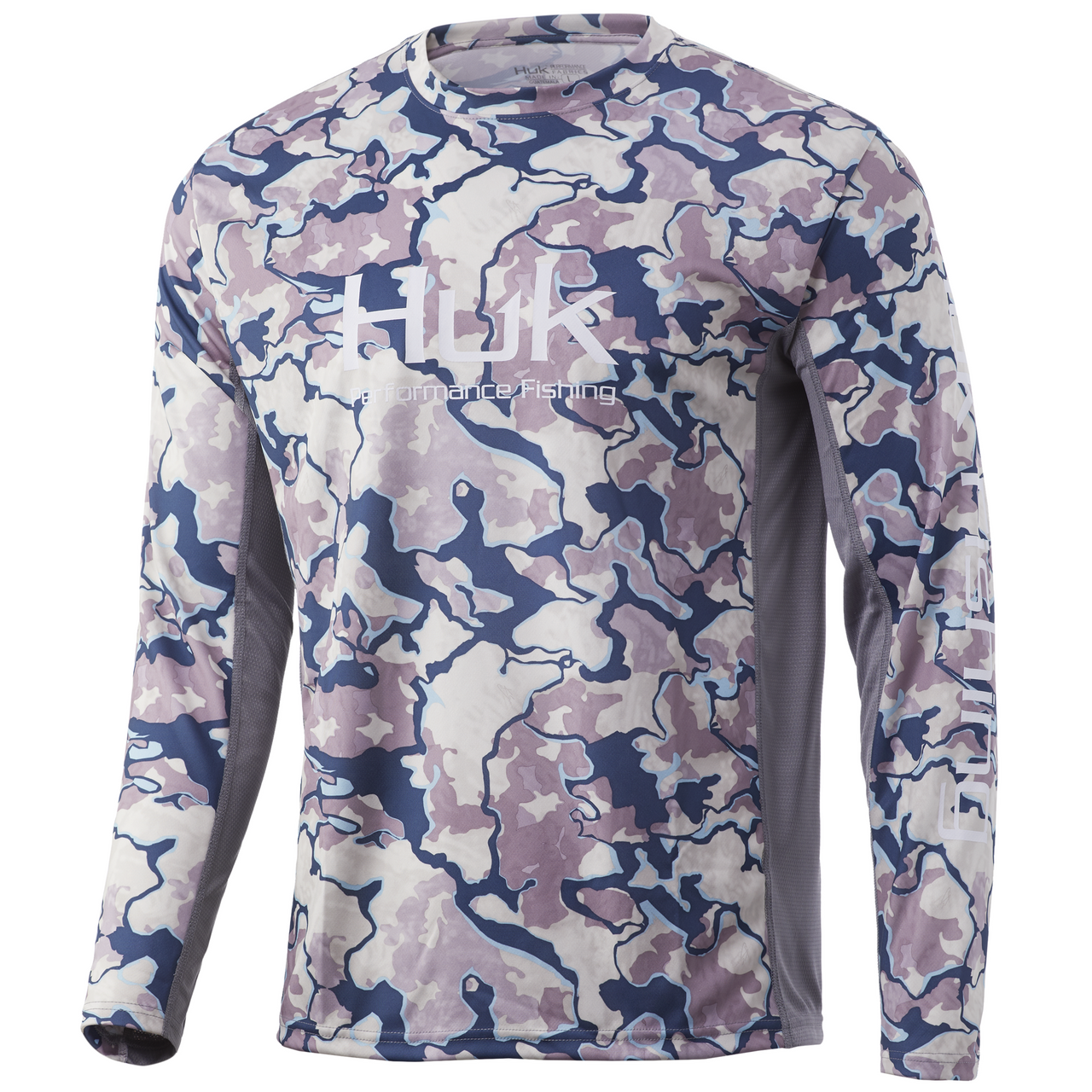 HUK Icon X Current Camo LS Shirt Current Ocean Tally H1200143-975-  CHOOSE YOUR SIZE!