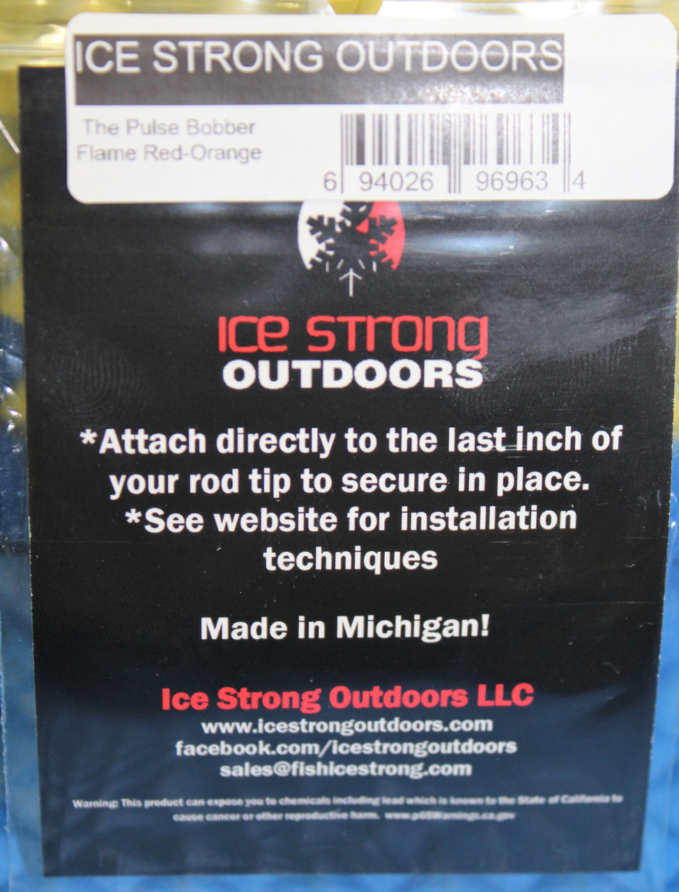 Ice Strong Titanium Spring The Pulse Bobber With Bead For 2.0-3.0mm Tungsten Jigs & Ice Flies Flame Red-Orange