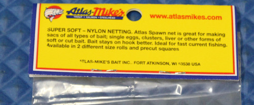 "Atlas Mike's Spawn Net 3"" x 3"" Squares Super Soft CHOOSE YOUR COLOR!"