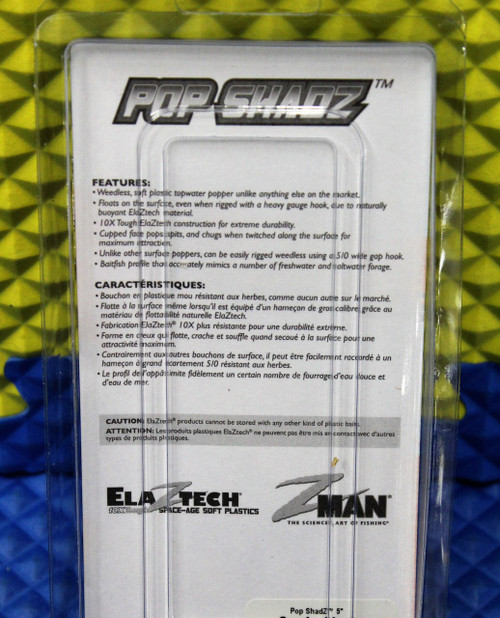 "Z-MAN 10XTough ELAZTECH Pop ShadZ Size 5"" 3 Per PK POSHAD5-PK3 Series CHOOSE YOUR COLOR!"