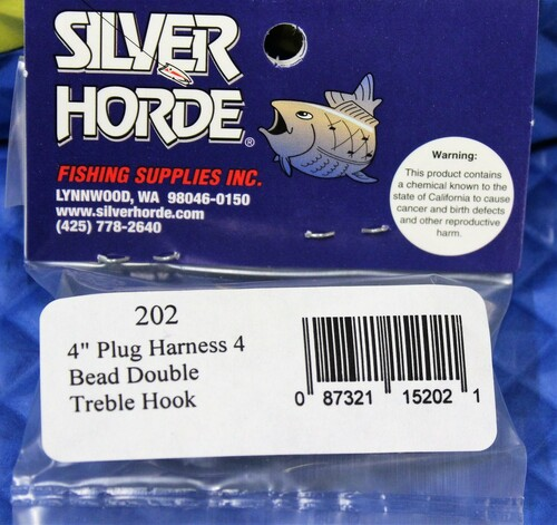 "Silver Horde 4"" & 5"" Plug Replacement Harnesses With Beads And 2 Treble Hooks CHOOSE YOUR SIZE!"