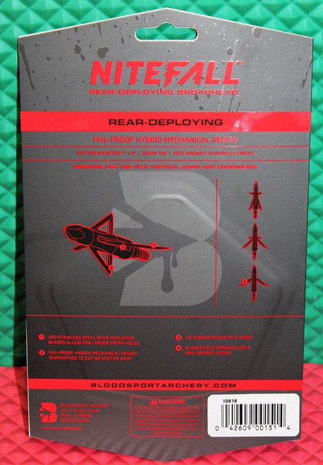 "Bloodsport Nitefall Rear-Deploying Broadhead 100 Grain 1"" x 2"" Cut 3 Pack 10816"