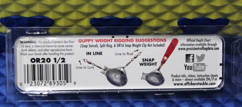 Off Shore Tackle OR20 1/2  (Three 1/ 2 Ounce Replacement Pro Guppy Weights)