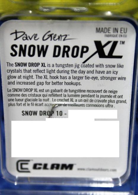Clam Dave Genz Snow Drop XL Tungsten Drop Series 1/32 oz No. 10 Hook CHOOSE YOUR COLOR!