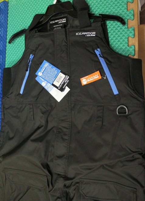 Clam Outdoors Ice Armor Rise Black (Blue Zippers) Float Bibs CHOOSE YOUR SIZE!