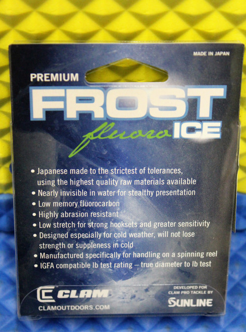 Clam Premium Frost Ice Fishing Line 100% Fluorocarbon 50 YDS Clear CHOOSE YOUR LINE WEIGHT!