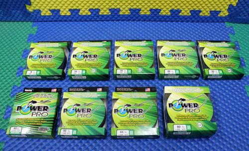 2 Spools NOS Power Pro Braided Line PowerPro 150 yd Moss Green Hi-Vis 8 lb Test