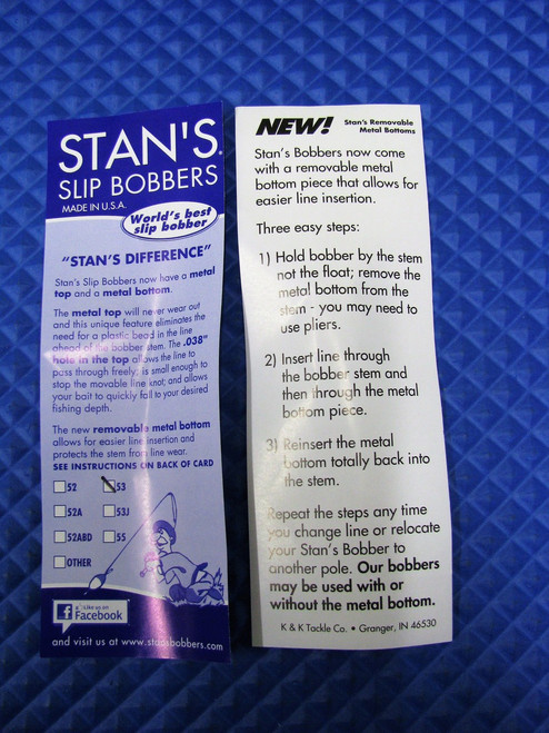 Stan's Slip Bobbers With Removable Metal Bottom Size 53 CHOOSE YOUR COLOR!